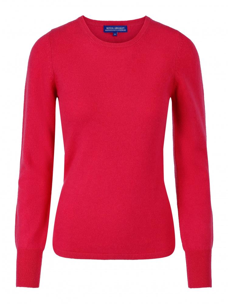 Rød rundhals cashmere genser CashmereHouse.no