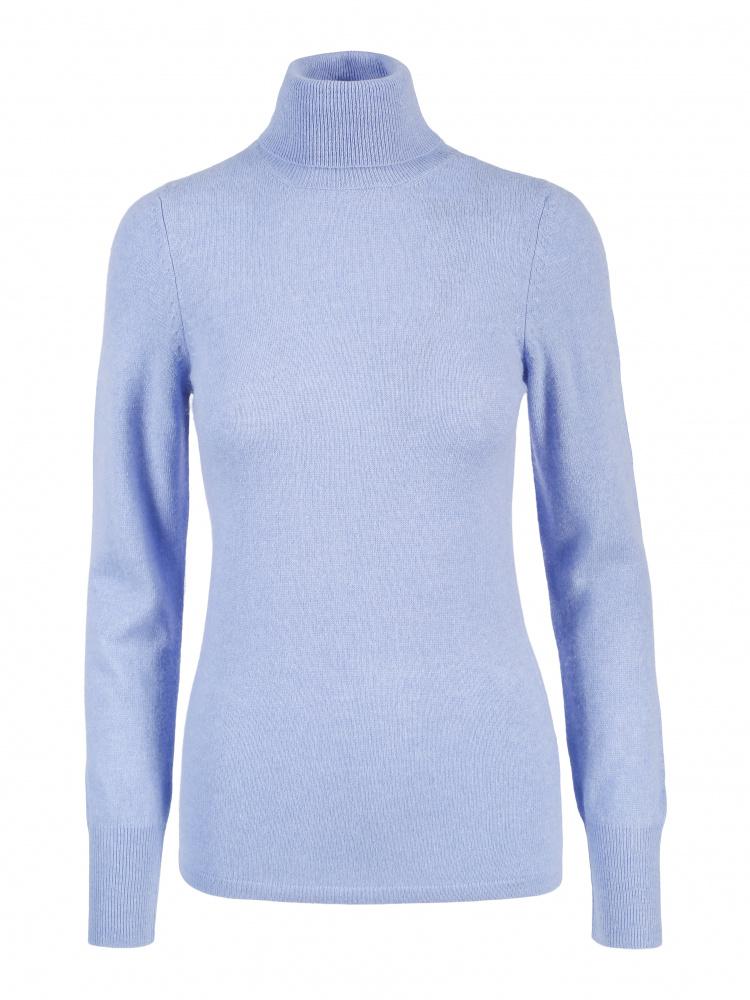 blå genser med høy hals